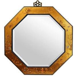 Oriental Furniture Elegant Asian Style Accents, 24-Inch Ming Design Gold Leaf Hexagonal Wall Mirror