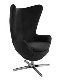 Premier Housewares Revolving Jubilee Microfibre Fabric Chair, 110 x 77 x 68 cm - Black