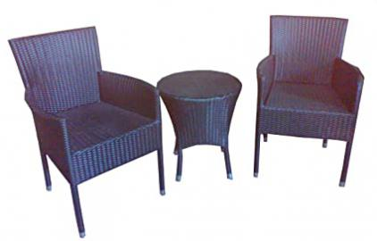 Table & chair black rattan bistro set for the garden