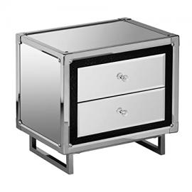 Premier Housewares 2 Drawer Mirror Unit with Crocodile Effect Detail, Stainless Steel