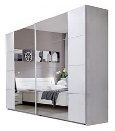 Wimex Fana Sliding Door Wardrobe White Frame Gleaming Chrome 270 Width Mirror