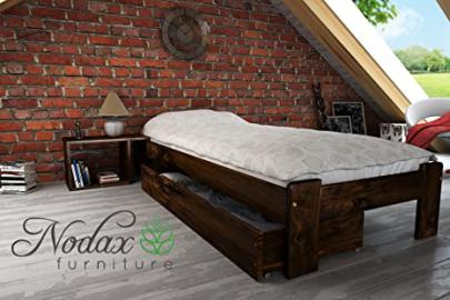 """F15"" Set No.4 Wooden Pine Bedframe, Underbed Storage Drawer 150cm, Bedside Unit (90 x 190 cm, walnut)"