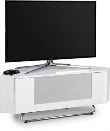"Centurion Supports Hampshire Corner-Friendly Gloss White with OptiWhite Beam-Thru Remote Friendly Door 26""-50"" Flat Screen TV Cabinet"