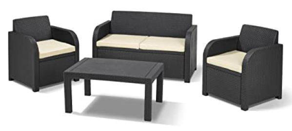 Allibert by Keter Carolina Outdoor 4 Seater Rattan Lounge Garden Furniture Set - Graphite with Cream Cushions