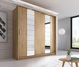 Brand New Modern Bedroom Mirror 2 Sliding Door Mirror Wardrobe Arti 14 in Oak Shetland Matt 220cm sold by Arthauss