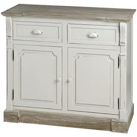 ANTIQUE WHITE KITCHEN CABINET UNIT SIDEBOARD SHABBY CHIC HAMPTON (H14843)
