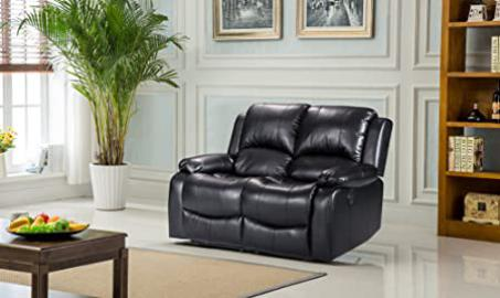 Lovesofas Luxury Electric Valencia 2 Seater Bonded Leather Recliner Sofa - Black
