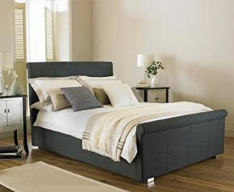 """Vienna Ottoman Upholstered Bed Frame - Grey 4ft 6"""""""