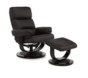 Horten Faux Leather Swivel and Recliner Chair With Mahogany Legs