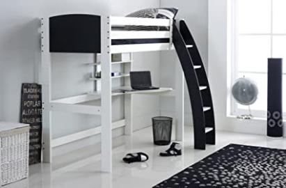 Scallywag Kids Exclusive High Sleeper Bed - Integral Desk & Shelves - 5 Colour Options. Made In The UK. (Black)