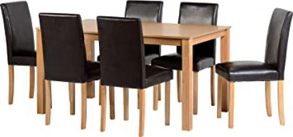 Seconique Ashbourne Dining Set with 6 Brown Chairs - Ash Veneer/Brown Faux Leather