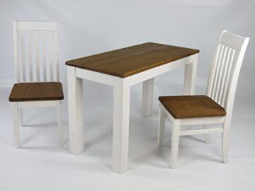 Brush with Furniture Wooden Dining Table Solid Pine Table 115 x 56 cm and 2 chairs in Classic White / Walnut