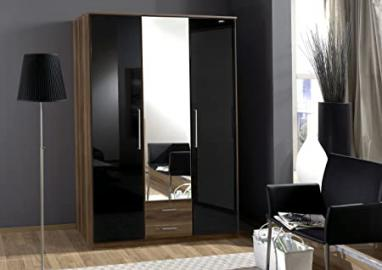 Dresden 3 Door 2 Drawer Wardrobe Black Gloss and Walnut - furniturefactor