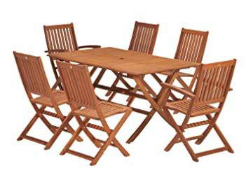 Wiltshire FSC Eucalyptus Wood 6 Seater Outdoor Dining Set, with Rectangular Table