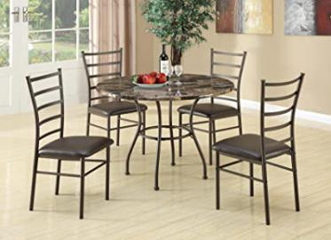 5pc Dining Table and Chairs Set with Faux Marble Top in Brown Finish