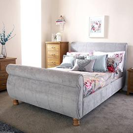 "Hf4you Chicago Silver Chenille Upholstered Sleigh Bed - 4FT6 Double - 6"" Memory Foam Mattress"