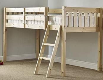 Childrens Cabin bed 3ft single pine with 20cm thick QUILTED mattress -
