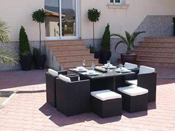 Oceans Rattan Furniture - Haiti Rattan Cube Garden Dining Set - 4 Line Black
