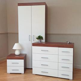 Bedroom Furniture Set *White & Walnut* - Wardrobe, 4+4 Drawer Chest & 2 Draw Bedside Cabinet