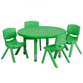 Flash Furniture 33'' Round Adjustable Green Plastic Activity Table Set with 4 School Stack Chairs