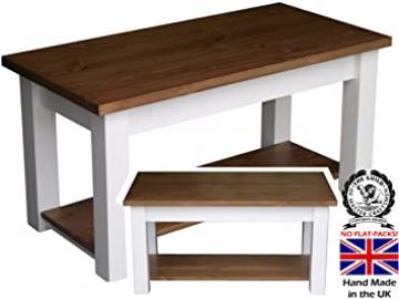 Pine Shaker Coffee Table, White Painted & Waxed Contrast 4' with Shelf. Choice of Colours (CTPW09)