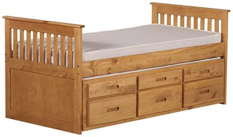 Amani International Captains Storage Bed in 3 Parts, Pine, Waxed, 3 ft, Single