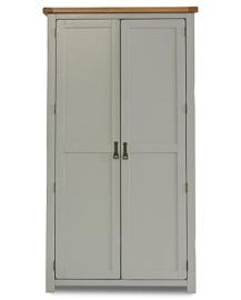 Birlea New Hampshire 2-Door Wardrobe - Wood, Grey and Oak
