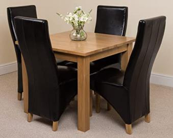 Hermosa Berlin Square Dining Table with 4 Lola Chairs with Clear Lacquer Finish, Solid Oak/Leather, Black, 90 x 90 x 77 cm