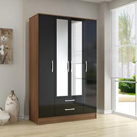 Lynx 4 Door 2 Drawer Wardrobe with Mirror Finish: Walnut and White