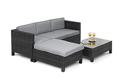 Maze Rattan LA Corner Sofa with Footstool in a Weave - Mixed Grey