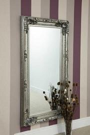 Full Length Silver Ornate Decorative Bevelled Mirror