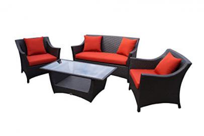 Rattan lounge set - elegant. comfortable. - high quality - high backrest - aluminium frame - brown - 10 cm cushions - yard wicker garden furniture