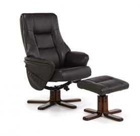 Serene Furnishings - Drammen Four Point Massage Faux Leather Swivel and Recliner Chair With Mahogany Legs