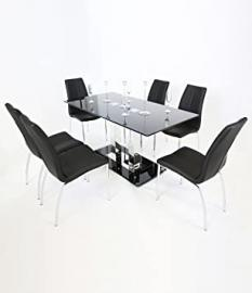 Holly Modern Dining Table – Rectangular Black Glass Top & Chrome Base (160 cm)