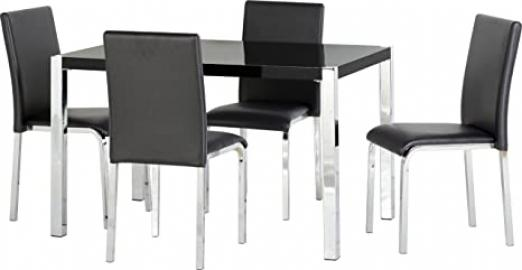 Seconique Charisma 4 Feet Black Gloss Dining Set with 4 Charisma Black Chairs - Black Gloss/Chrome/Black Faux Leather