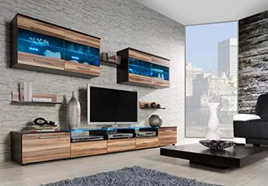 CAMA I - Modern HIGH GLOSS / MATT WALL Entertainment UNIT TV Stand Cabinet FLOOR / HANGING - PERFECT FOR Living Room / Bedroom / Studio Flat - AMAZING QUALITY suitable for PLASMA / LED / LCD / OLED TVs!!! STANDARD LEDs or RGB (RGB LEDS - Wenge matt body /