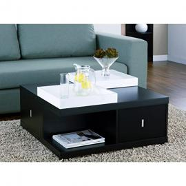 Space Saving Black Coffee Table with Drawers & Serving Trays for Your Living Room Family Room, Den or Office
