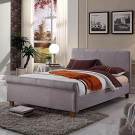 Hf4you Caramal Fabric Upholstered Bed Frame - 4FT6 Double - Silver Grey