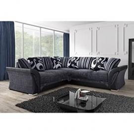 Shannon / Farrow Corner Sofa Grey / Black Fabric Chenille Designer Settee