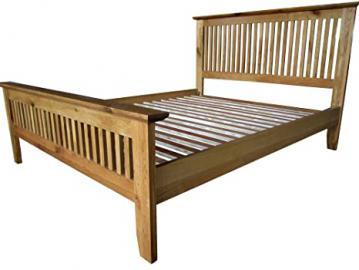 Solid oak fully assembled Bedroom Set. Barcelona chest of drawer sideboard nest tv cabinet beds coffee table (4ft6 Oak Bed)