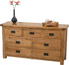 Hermosa Kendal 7-Drawer Solid Chest with Lacquer Finish, Oak/Brown, 140 x 43 x 78.5 cm