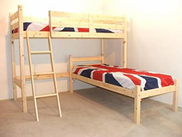L SHAPED 3ft bunkbed - Wooden LShaped Bunk Bed for kids - INCLUDES 2x 15cm sprung mattresses
