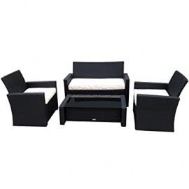 Charles Bentley Garden Deluxe Wicker Rattan 4 Piece Furniture Set - Black & Cream