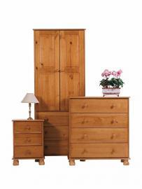 Dovedale Bedroom Set (2 Door Wardrobe + Bedside Table + 4 Drawer Chest)