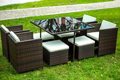Life Carver Rattan Cube Garden Furniture Sets 8 seater Dining Set Outdoor wicker Cushioned Chair and Ottoman Rattan Patio Set 9pcs