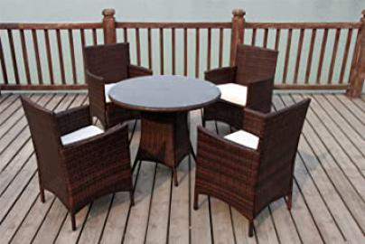 NEW BISTRO 2-4-6 SEATER RATTAN WICKER DINING OUTDOOR GARDEN FURNITURE SET (Dark brown 4 seater)