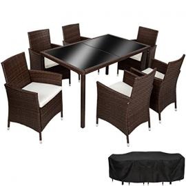TecTake Poly Rattan garden furniture garden dining set 6+1 | protection slipcover | stainless steel screws | mixed brown