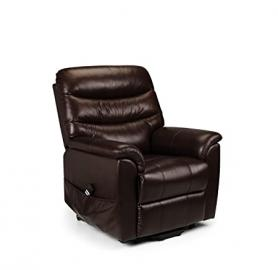 Julian Bowen Pullman Leather Dual Motor Rise and Recline Chair, Chestnut Brown