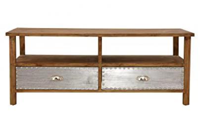 Premier Housewares Shoreditch Coffee Table, MDF/Fir Wood/Aluminium - Brown