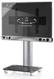 "VCM ""Sbm600"" TV-Pedestal Plus Soundbar and Holder, Silver/Black Glass"